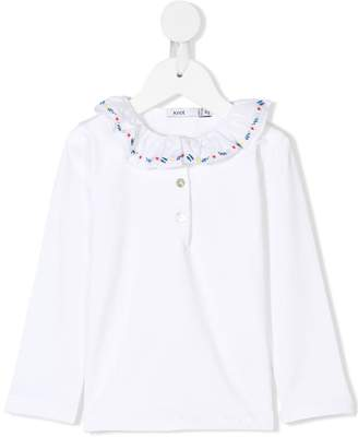Knot embroidered collar polo top