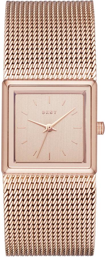 DKNYDKNY Women's Stonewall Rose Gold-Tone Stainless Steel Mesh Bracelet Watch 25mm NY2564
