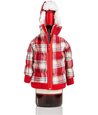 Holiday Lane Red Plaid Zip Jacket Wine Bottle Cover, Created for Macy's