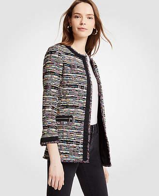 Ann Taylor Mixed Tweed Zip Pocket Jacket