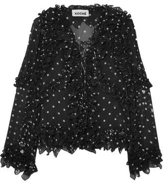 Koché - Ruffled Lace-up Polka-dot Silk Blouse - Black