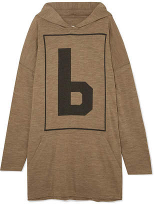 MM6 MAISON MARGIELA Oversized Wool-blend Jersey Hooded Top - Army green