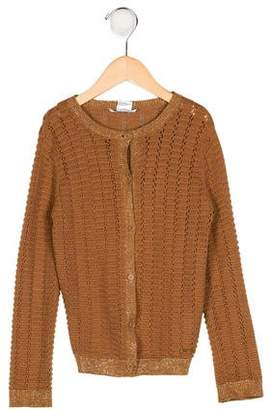 Little Marc Jacobs Girls' Knit Metallic-Accented Cardigan