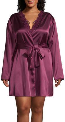 Flora Nikrooz Flora By Long Sleeve Satin Robe-Plus