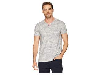 Calvin Klein Jeans Short Sleeve Streak Heather Slit Neck Tee with Pocket