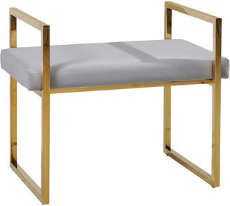 Sagebrook Home Gold-Tone & Grey Velveteen Vanity Bench