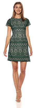 Adrianna Papell Women's Scalloped Striped Lace A-Line Dress with Cap Sleeves