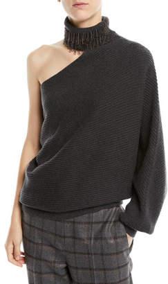 Brunello Cucinelli One-Shoulder Monili Fringe Turtleneck Ribbed Cashmere Sweater