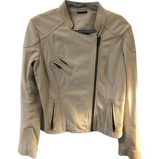Ikks White Leather Jacket for Women