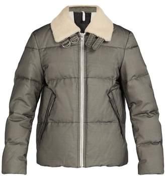 Helmut Lang - Shearling Trimmed Silk Organza Down Jacket - Mens - Black