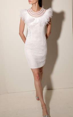 Joanna Mastroianni Illusion Neck Mini Dress
