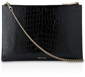 Whistles Rivington Shiny Croc-Embossed Leather Clutch