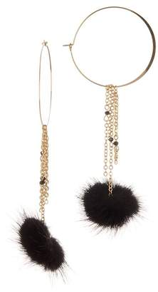 Ettika Chain Tassel Pompom Hoop Earrings