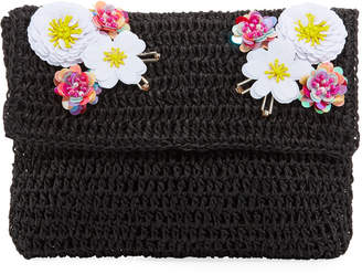 San Diego Hat Company Paper Clutch Bag with Flower Detail