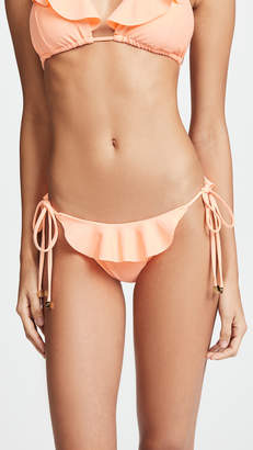 Shoshanna Grapefruit String Bikini Bottoms with Ruffles