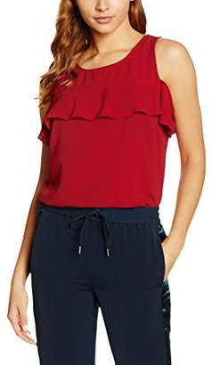 New Look Women's Ruffle Yoke Shell T - Shirt, Red, 6