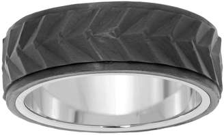 Lynx Men's Chevron Stainless Steel & Carbon Fiber Ring