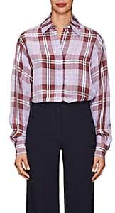 Victoria Beckham Women's Plaid Plain-Weave Blouse - Lilac, Cherry