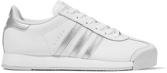 adidas Originals - Samoa Metallic-trimmed Leather Sneakers - White $70 thestylecure.com