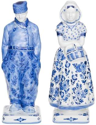 Royal Delft Farmer And Wife Figurine Set
