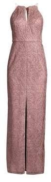 Aidan Mattox Leaf Jacquard Gown