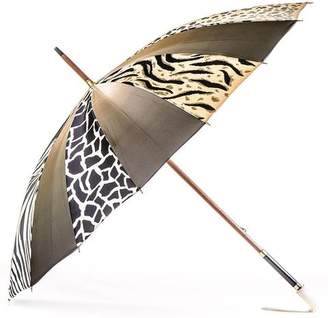 Black Animal Print Italian Luxury Double Canopy Umbrella
