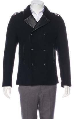 The Kooples Leather-Trimmed Wool Coat