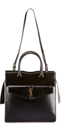 Saint Laurent Uptown Medium Monogram Cabas Cuir Glace Satchel Bag