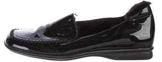 Prada Patent Leather Mink-Trimmed Loafers