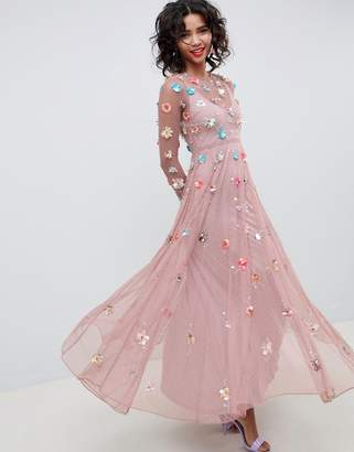 Asos EDITION 3D embellished maxi dress in dobby spot