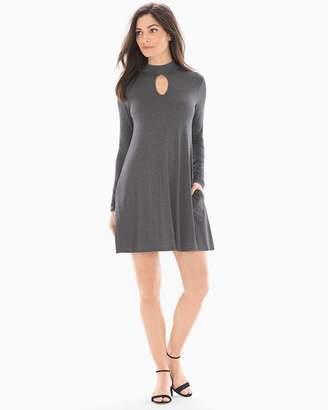 Elan Long Sleeve Keyhole Dress Charcoal