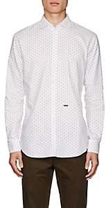 DSQUARED2 Men's Diamond-Print Cotton Shirt - White Size 48 Eu