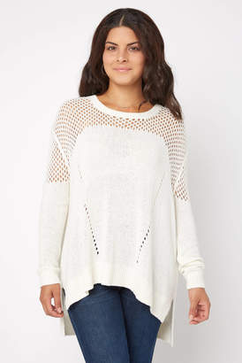 Stitches & Stripes Long Sleeve Open Weave Oversized Pullover