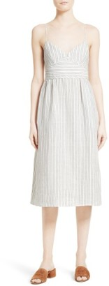 Women's Theory Melanea B Stripe Linen Midi Dress $325 thestylecure.com