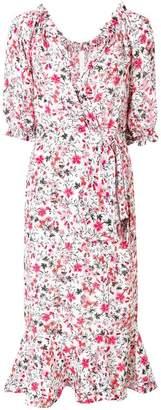 Saloni floral print wrap style dress