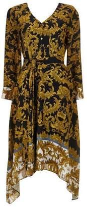 Wallis PETITE Black Printed Midi Shirt Dress