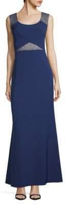 Aidan Mattox Lace & Crepe A-Line Gown