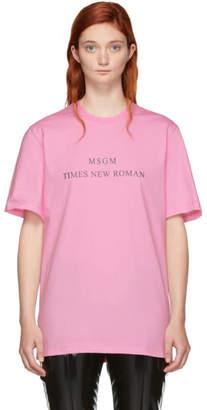 MSGM Pink Times New Roman T-Shirt
