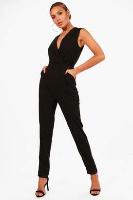 boohoo Wrap Front Skinny Leg Jumpsuit