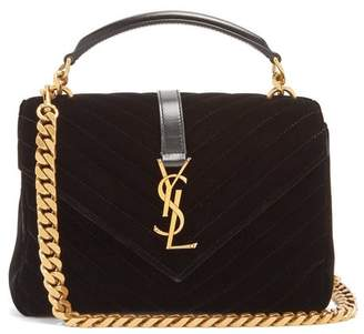 Saint Laurent College Medium Quilted Velvet Cross Body Bag - Womens - Black