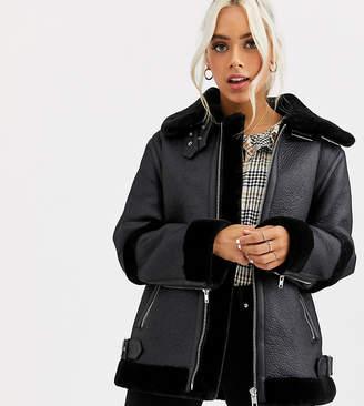 Asos DESIGN Petite bonded aviator coat in black
