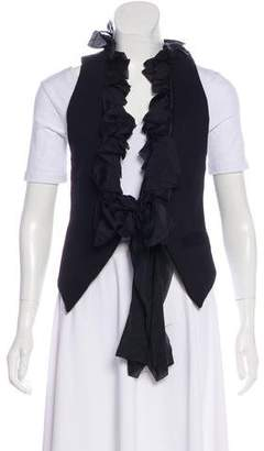 Elizabeth and James Silk-Accented Ruffle Vest
