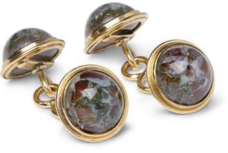 Foundwell 1940s 14-Karat Gold Agate Cufflinks