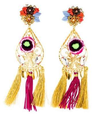Tassel Pom Pom Chandelier Clip-On Earrings