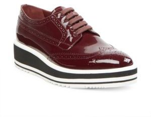 pradaPrada Patent Leather Brogue Platform Oxfords