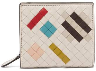 Bottega Veneta Intrecciato Bi Fold Leather Wallet - Womens - White Multi