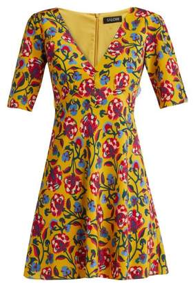 Saloni Corinne Floral Print Silk Dress - Womens - Yellow Multi