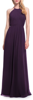 #Levkoff Open Back Halter Neck Chiffon Gown