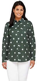 Denim & Co. Star Print Point Collar ButtonFront Shirt