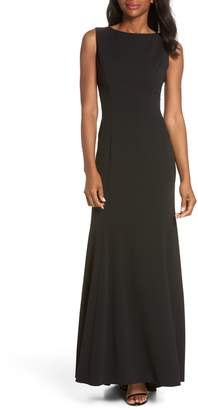 Vince Camuto Ruffle Back Scuba Crepe Gown